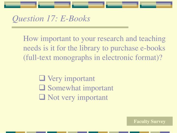 Question 17: E-Books