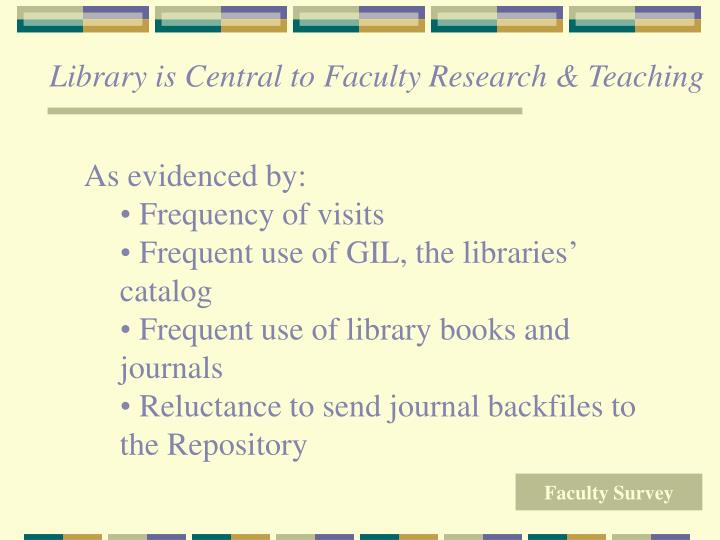Library is Central to Faculty Research & Teaching