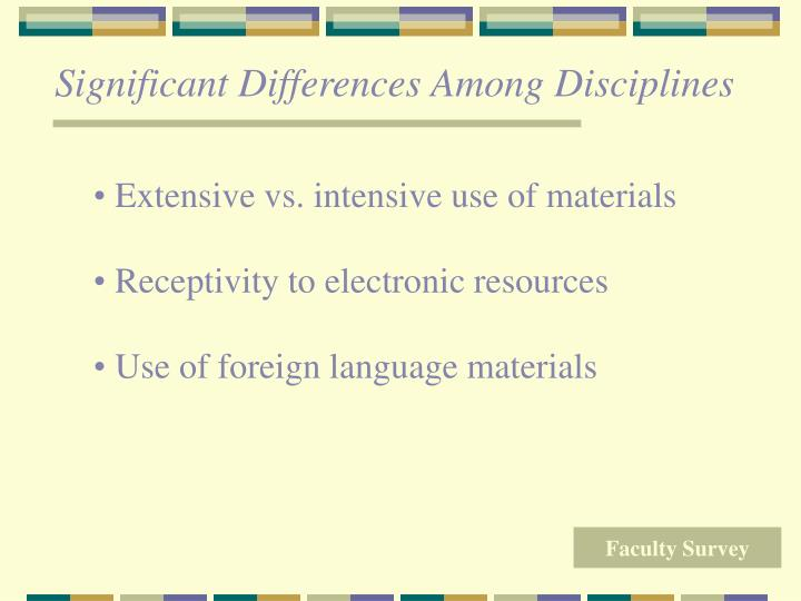 Significant Differences Among Disciplines