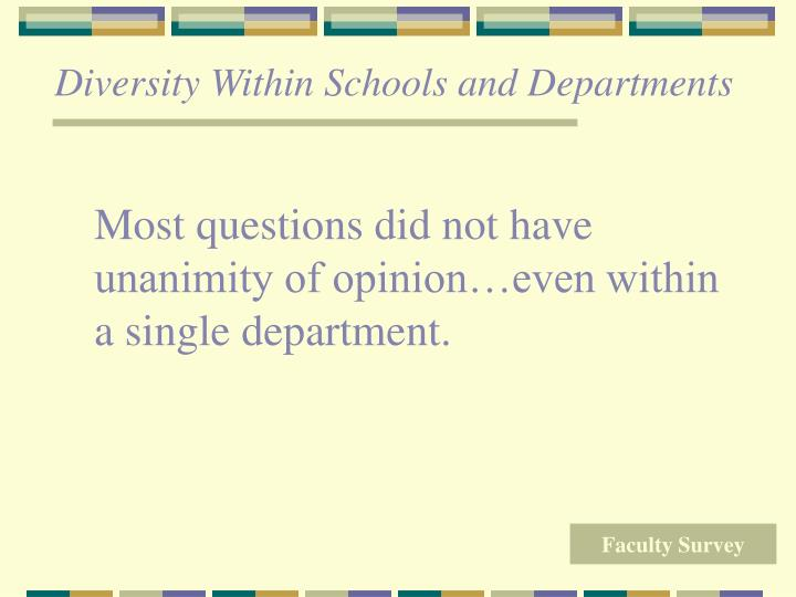 Diversity Within Schools and Departments