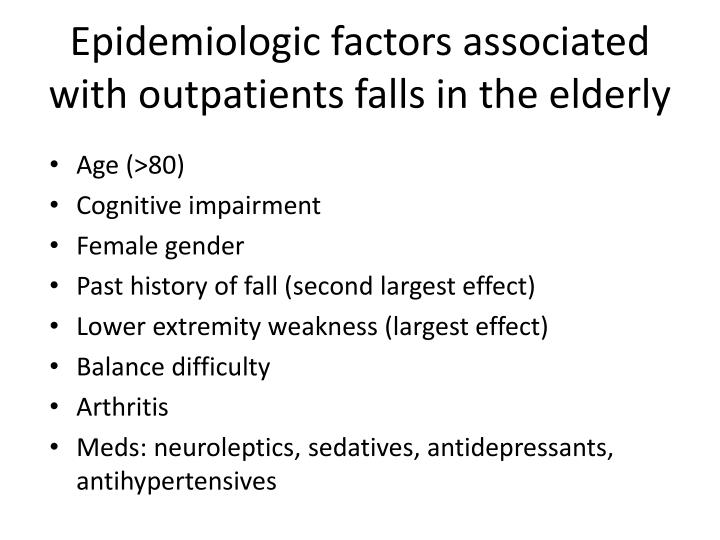 Epidemiologic factors associated with outpatients falls in the elderly