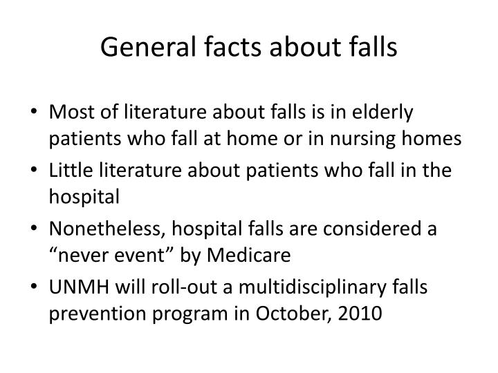 General facts about falls
