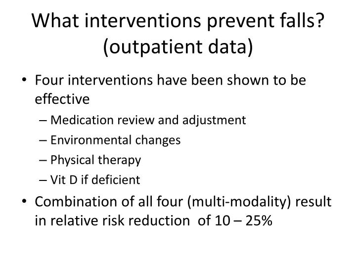 What interventions prevent falls? (outpatient data)