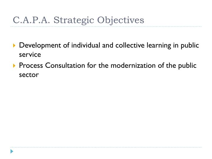 C.A.P.A. Strategic Objectives