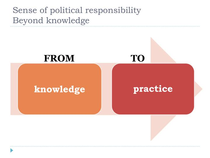 Sense of political responsibility           Beyond knowledge