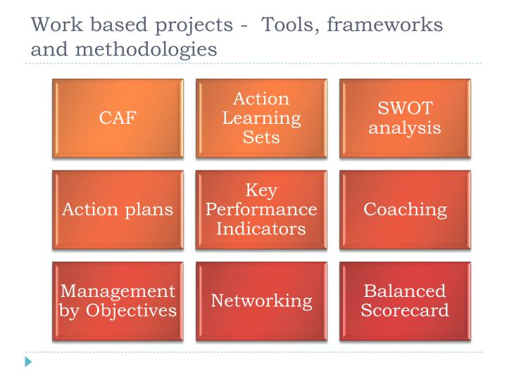 Work based projects -  Tools, frameworks  and methodologies