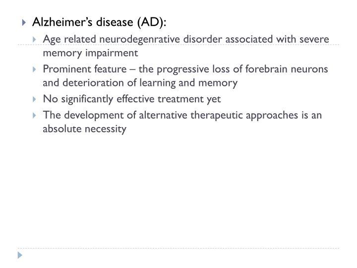 Alzheimer's disease (AD):