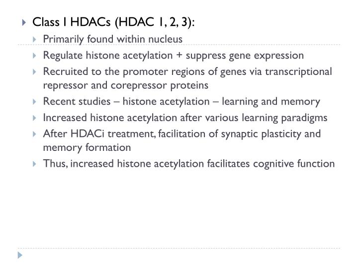 Class I HDACs (HDAC 1, 2, 3):
