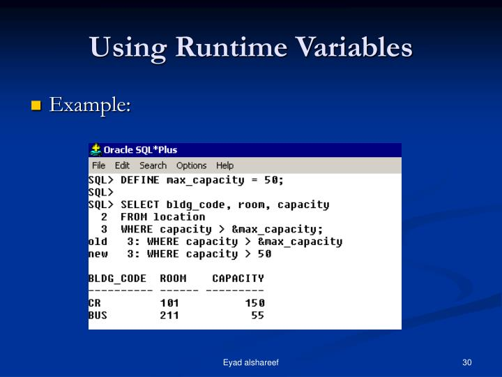 Using Runtime Variables