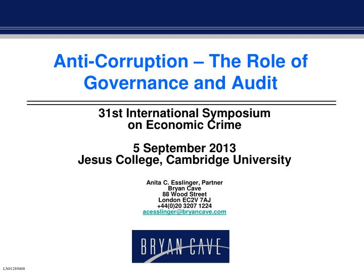 Anti corruption the role of governance and audit