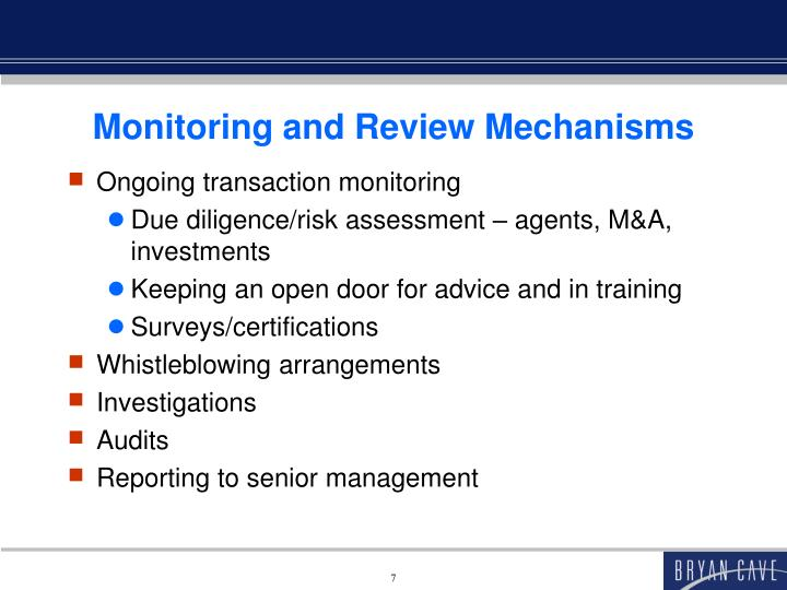 Monitoring and Review Mechanisms