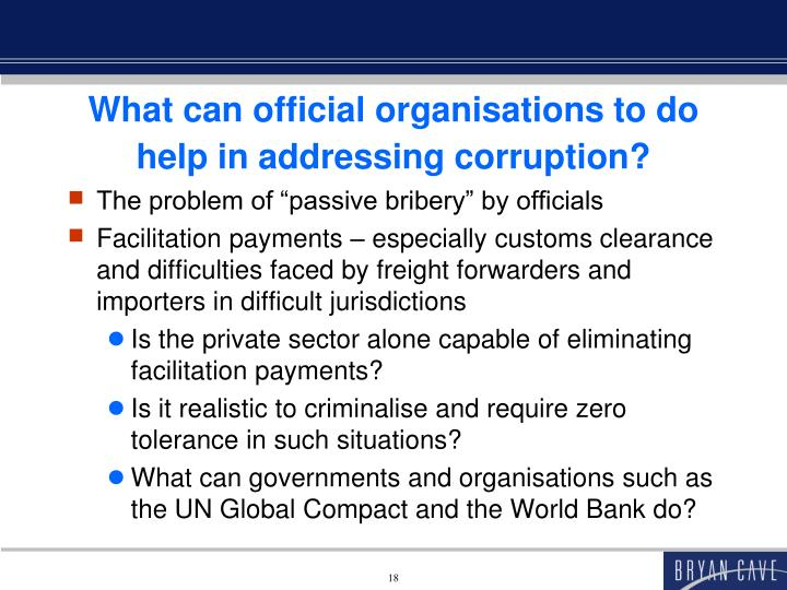 What can official organisations to do help in addressing corruption?