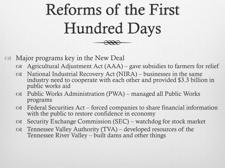 Reforms of the First Hundred Days