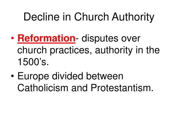 Decline in Church Authority