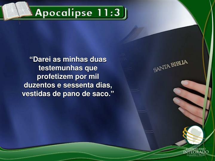 """""""Darei as minhas duas testemunhas que profetizem por mil duzentos e sessenta dias, vestidas de pano de saco"""