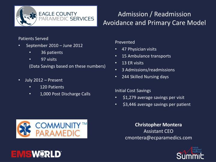 Admission / Readmission Avoidance and Primary Care Model