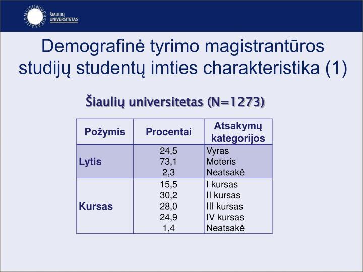 Demografinė tyrimo magistrantūros studijų studentų imties charakteristika (1)