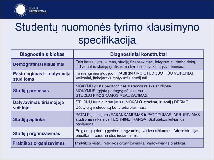 Studentų nuomonės tyrimo klausimyno specifikacija