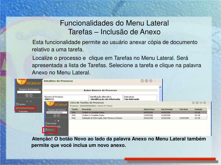 Funcionalidades do Menu Lateral
