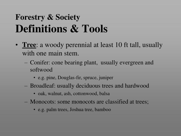 Forestry society definitions tools1