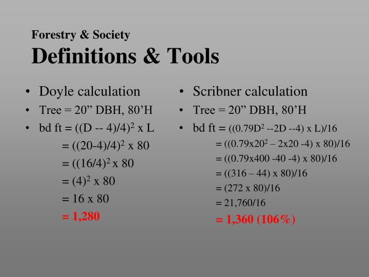 Doyle calculation