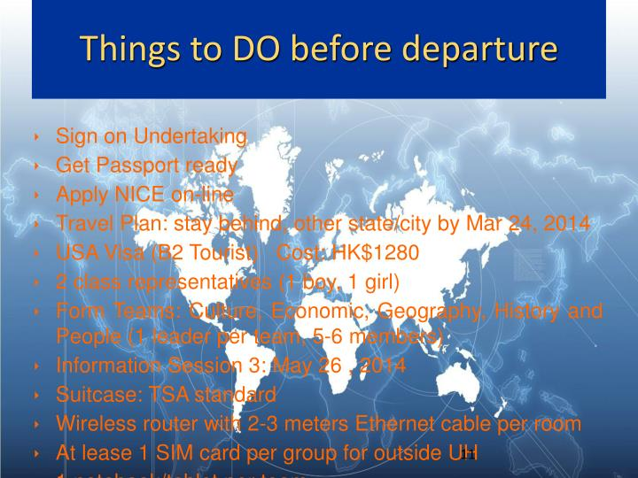 Things to DO before departure
