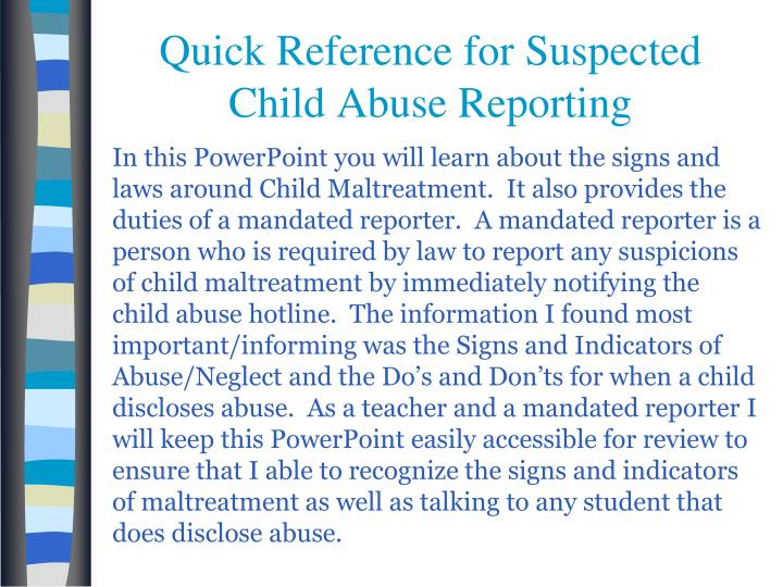 Quick reference for suspected child abuse reporting