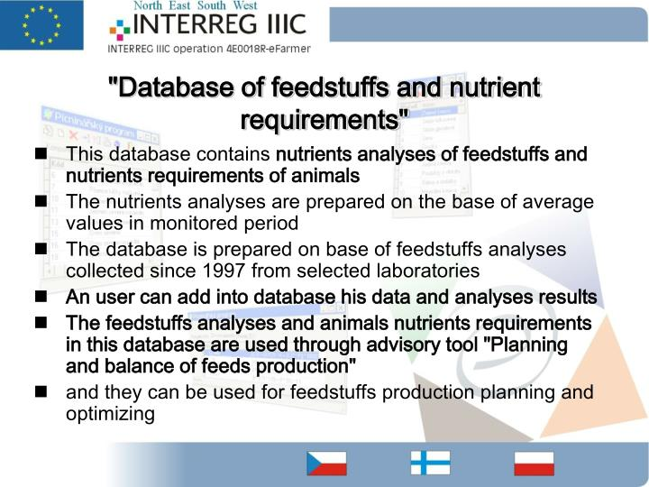 """Database of feedstuffs and nutrient requirements"""