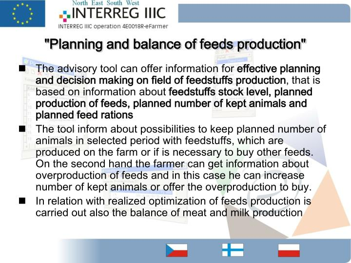"""Planning and balance of feeds production"""