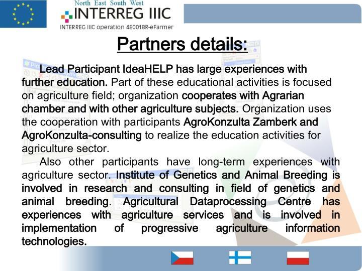 Partners details: