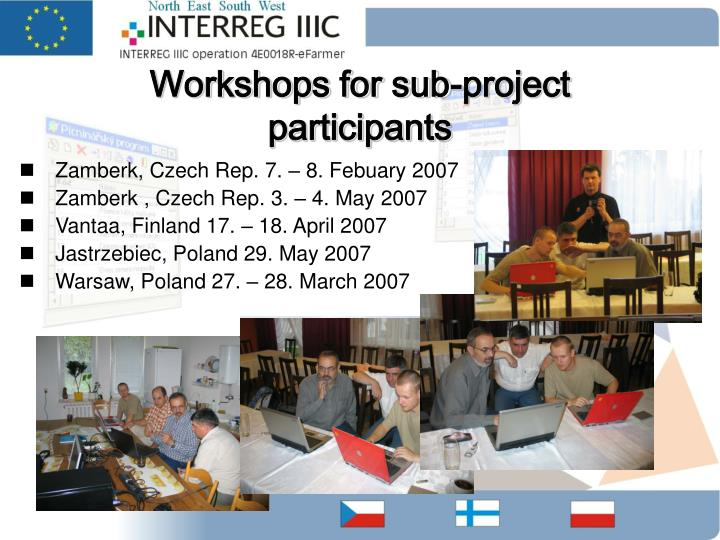Workshops for sub-project participants