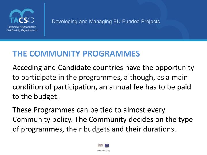 THE COMMUNITY PROGRAMMES