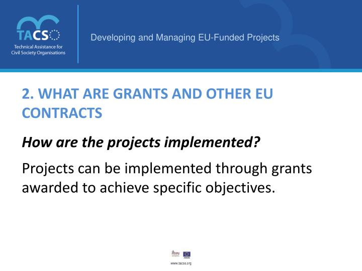 2. WHAT ARE GRANTS AND OTHER EU CONTRACTS