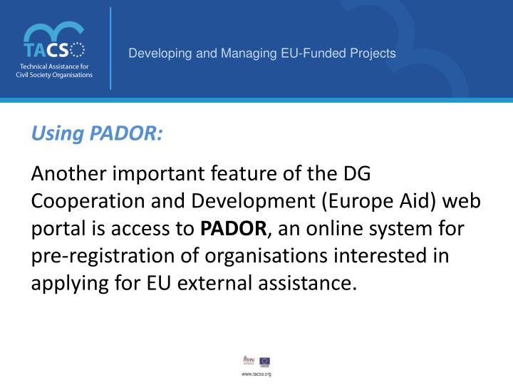 Using PADOR: