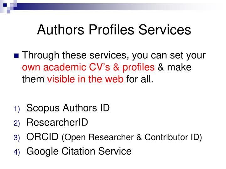 Authors Profiles Services