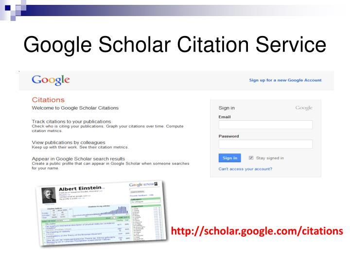 Google Scholar Citation Service