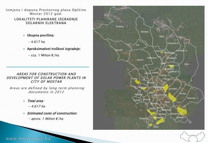 Izmjena i dopuna Prostornog plana Opštine Mostar 2012 god.