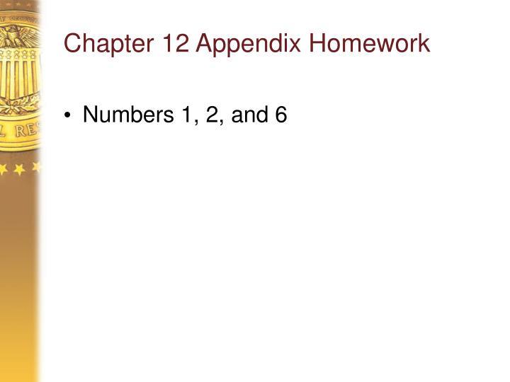 Chapter 12 Appendix Homework