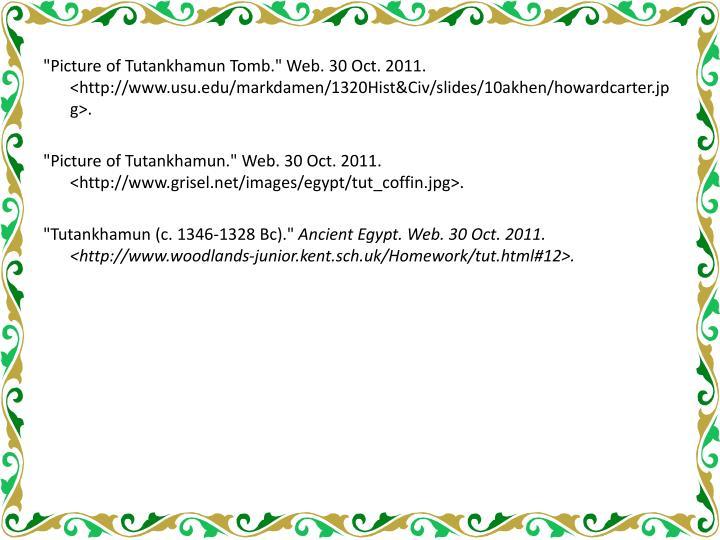 """Picture of Tutankhamun Tomb."" Web. 30 Oct. 2011. <http://www.usu.edu/markdamen/1320Hist&Civ/slides/10akhen/howardcarter.jpg>"