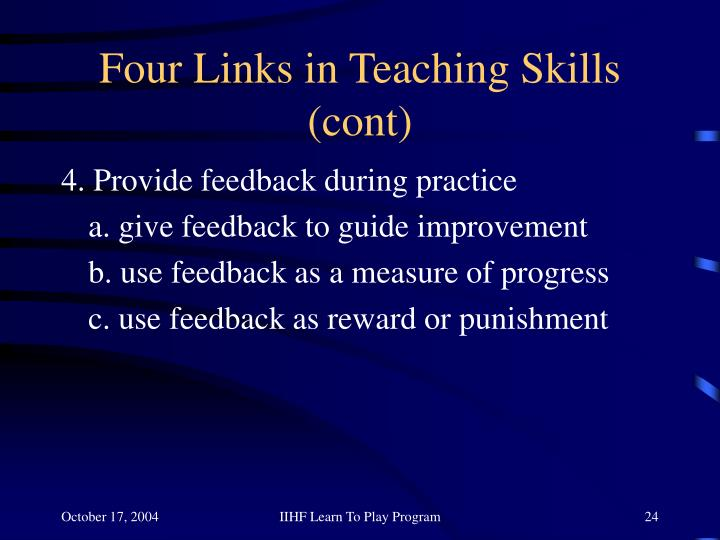 Four Links in Teaching Skills (cont)