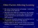 other factors affecting learning