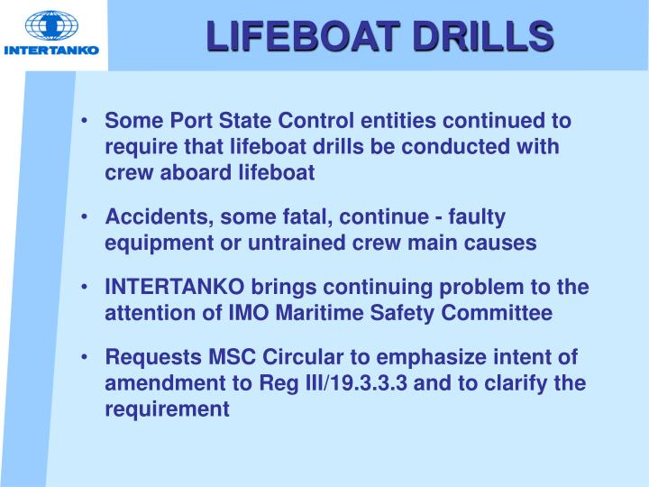 LIFEBOAT DRILLS
