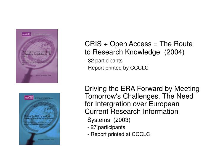 CRIS + Open Access = The Route to Research Knowledge  (2004)