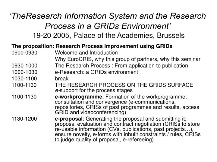 'TheResearch Information System and the Research