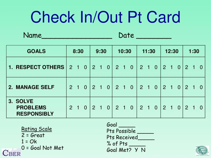 Check In/Out Pt Card