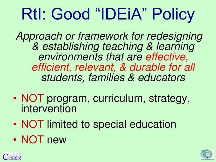 "RtI: Good ""IDEiA"" Policy"