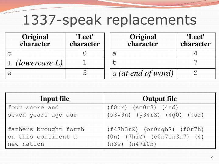 1337-speak replacements