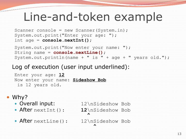 Line-and-token example