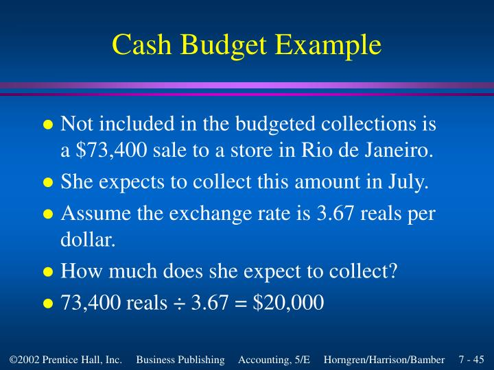 Cash Budget Example