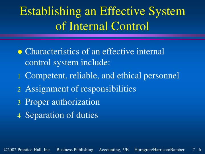 Establishing an Effective System of Internal Control